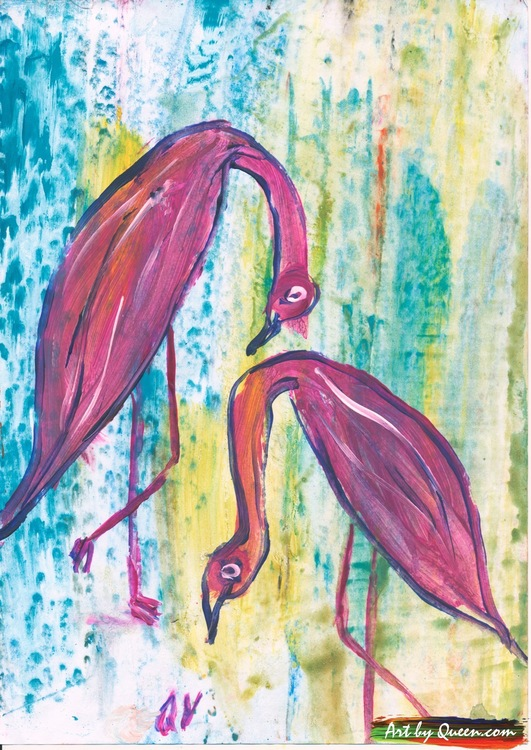 Två flamingor