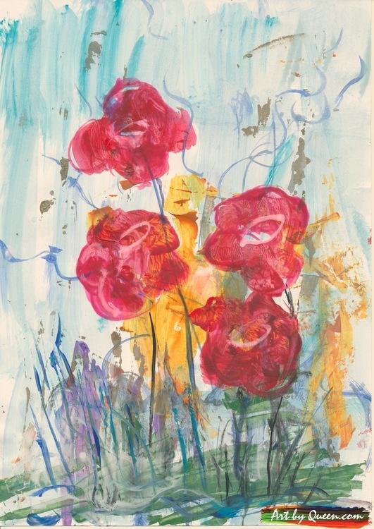 Fyra rosor på ängen