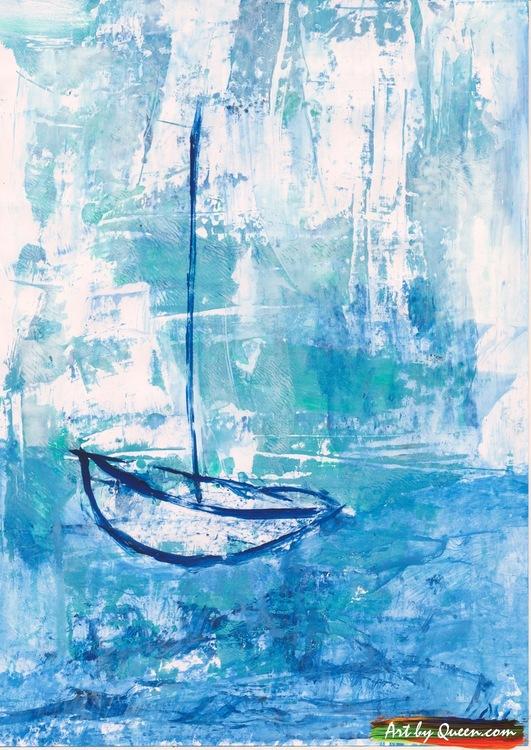 Ensam segelbåt på havet