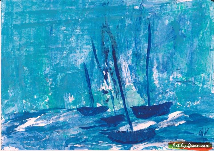 Fyra blå segelbåtar på stormande havet