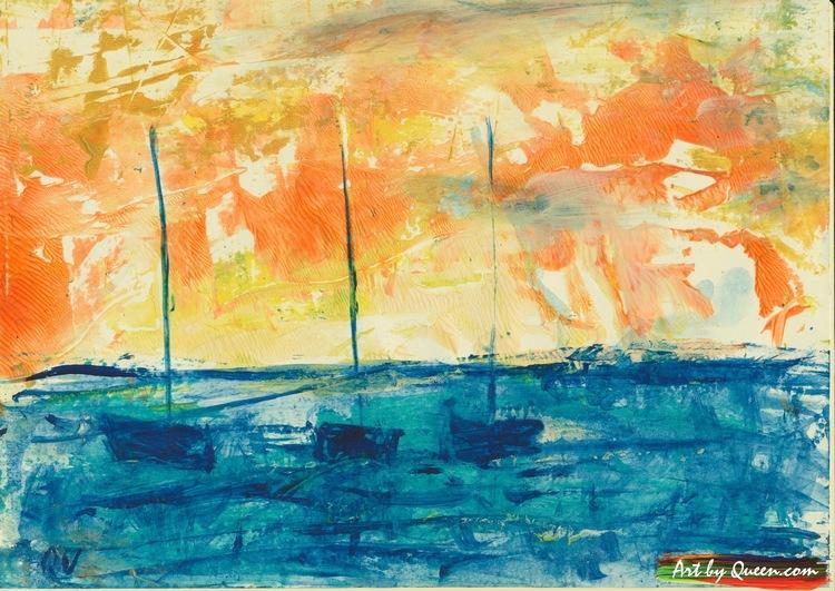 Tre segelbåtar på blåa havet