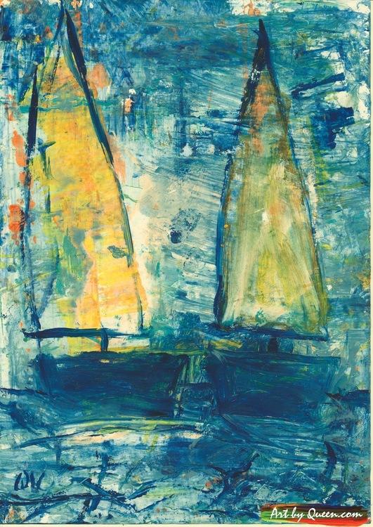 Båtar med gult segel