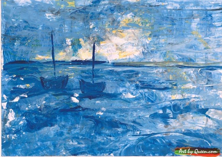 Två blåa båtar