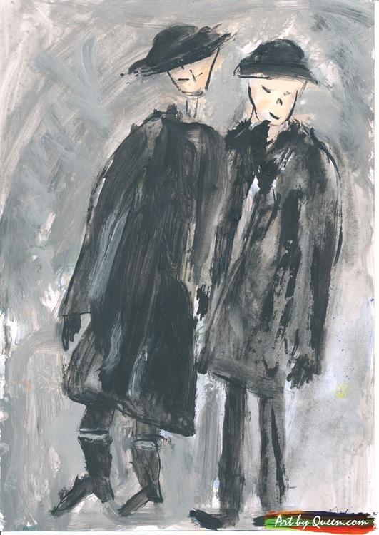 Kvinnan och mannen på kvällspromenad