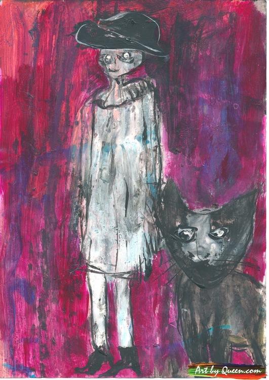 Kvinnan med svarta katten