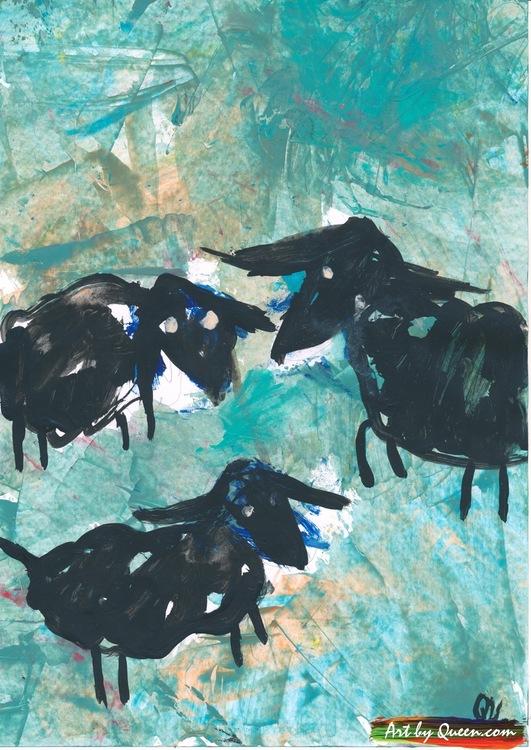Tre svarta får i hagen