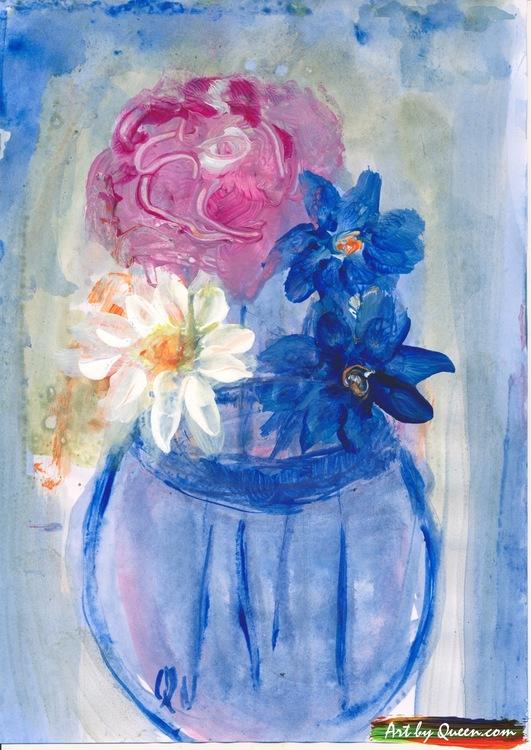 Fyra blommor i vasen