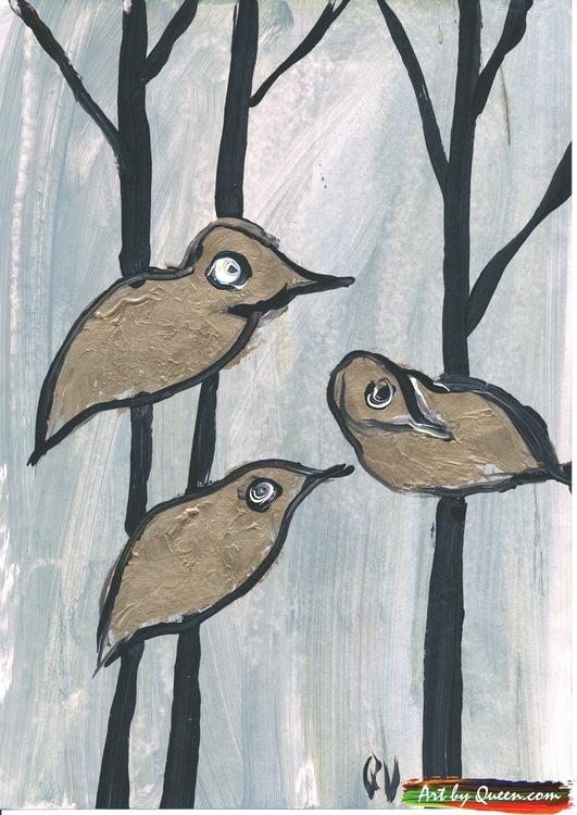 Tre guldfåglar sitter i trädet