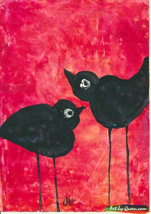 Tre svarta fåglar med långa ben