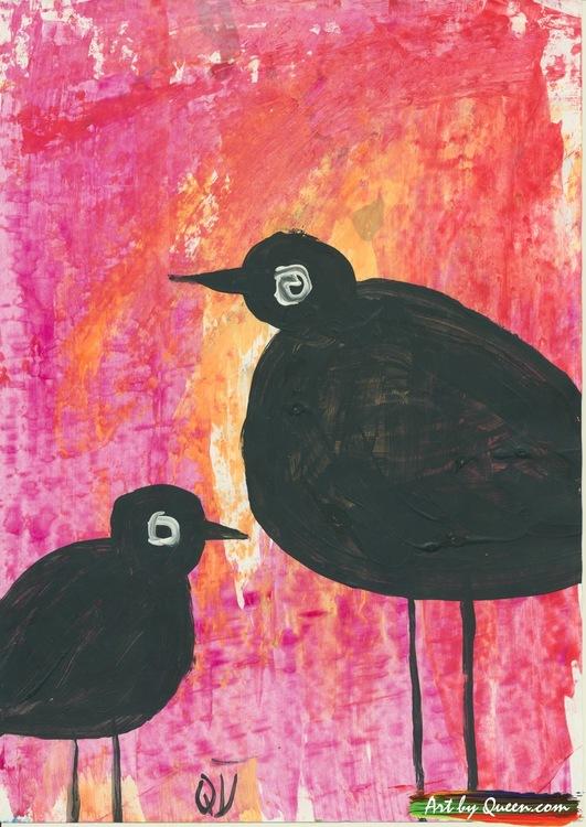 Stor och liten svart fågel