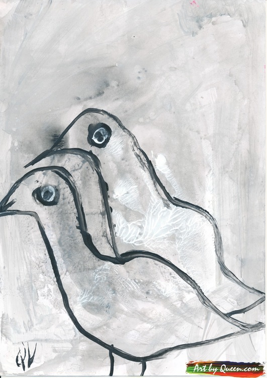 Två grå måsungar