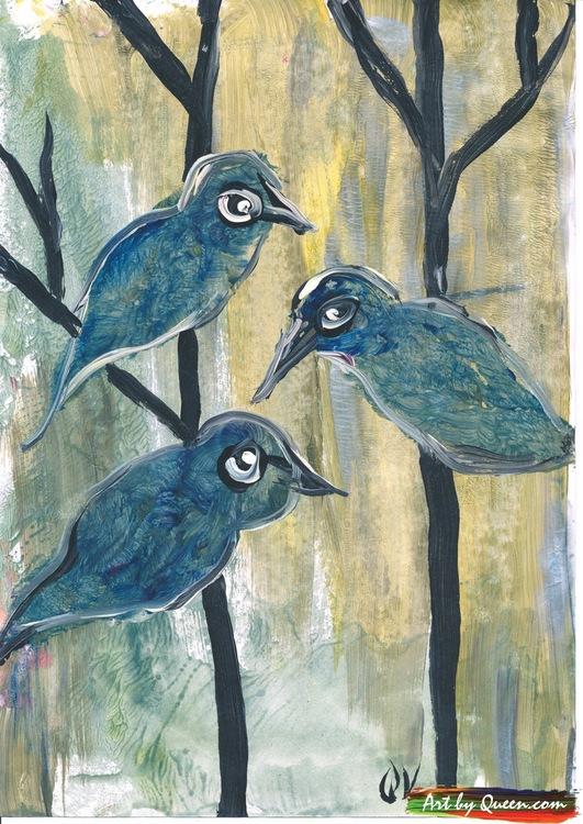 Tre söta fåglar sitter i ett träd
