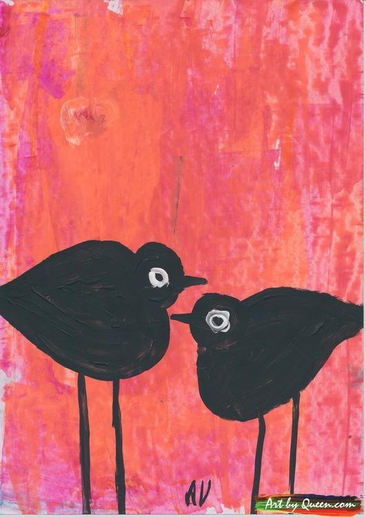 Två fåglar i svarta färger