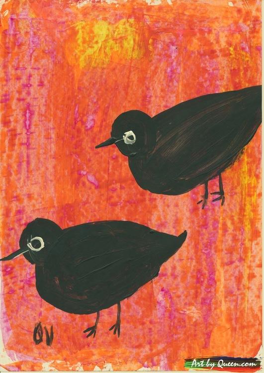 Två söta svarta fåglar