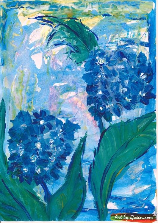 Blå Hortencia