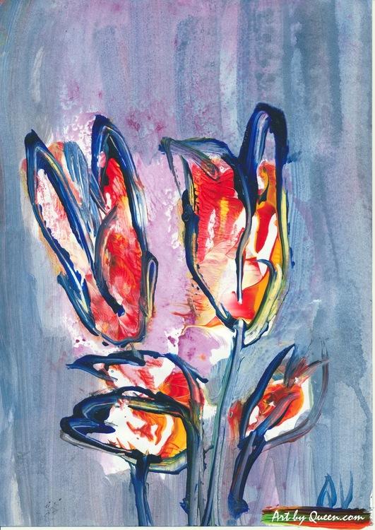 Fyra tulpaner blommar vackert