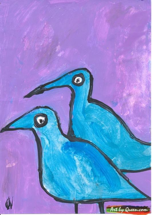 Två måsar i blå