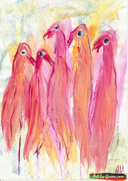 Fem flamingor