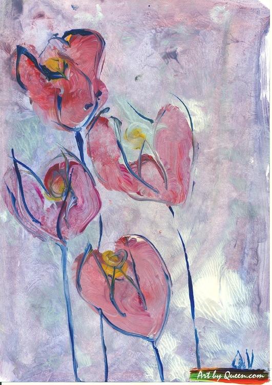 Fyra blommande tulpaner