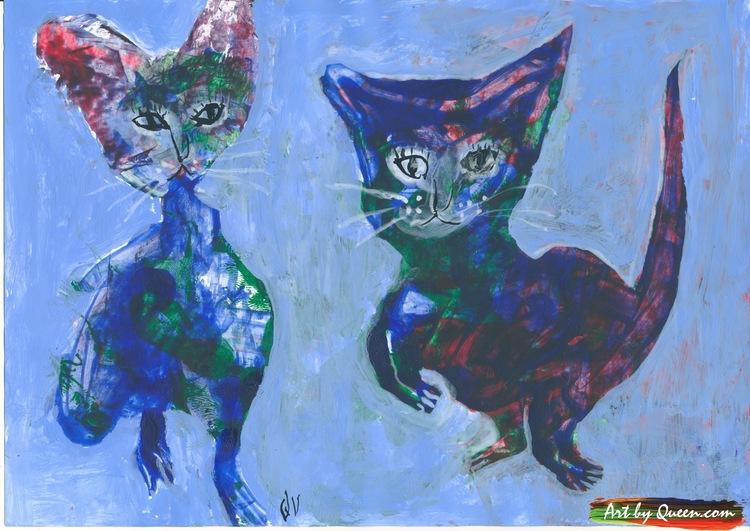 Kattflicka och kattpojke