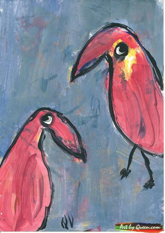Två nyfikna papegojor