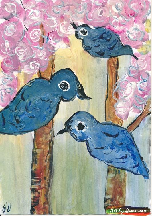 Fåglar sitter i träd