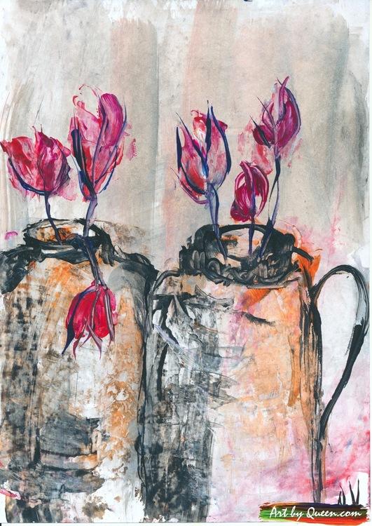 Tulpaner i två vaser