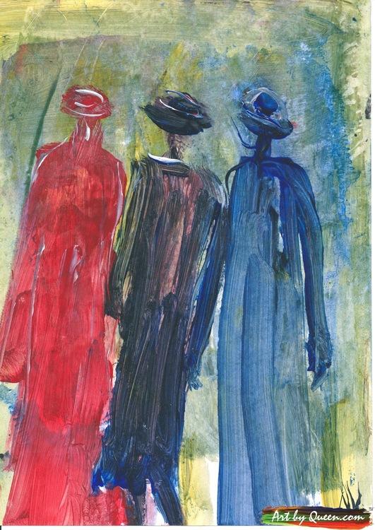 Tre människor på promenad