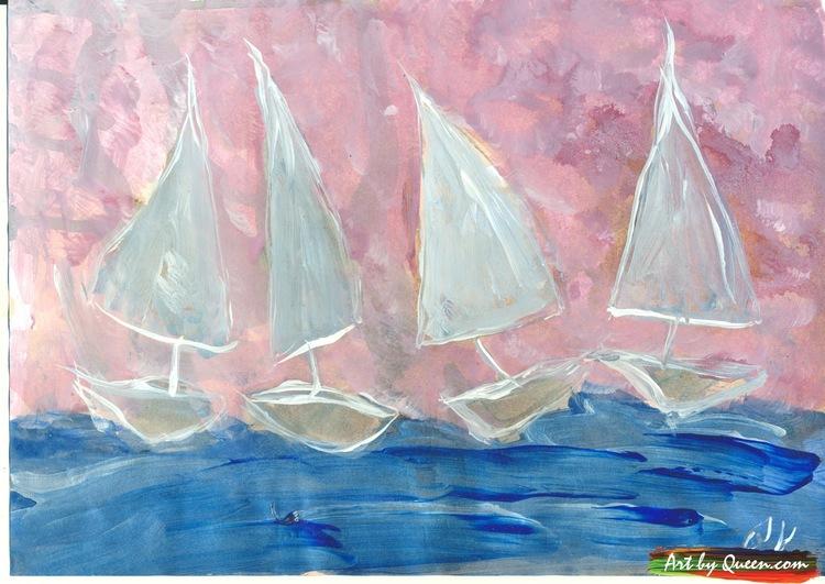 Fyra segelbåtar seglar
