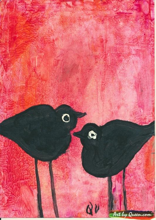 Två söta fåglar kvittrar