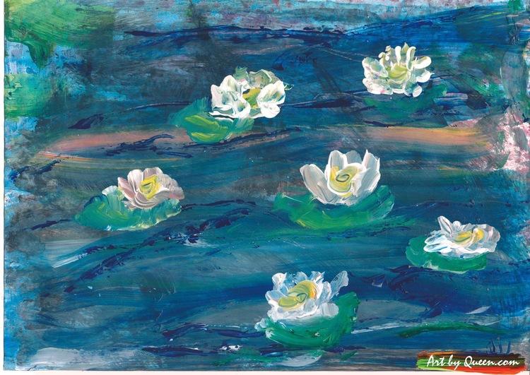 Sex blommande näckrosor