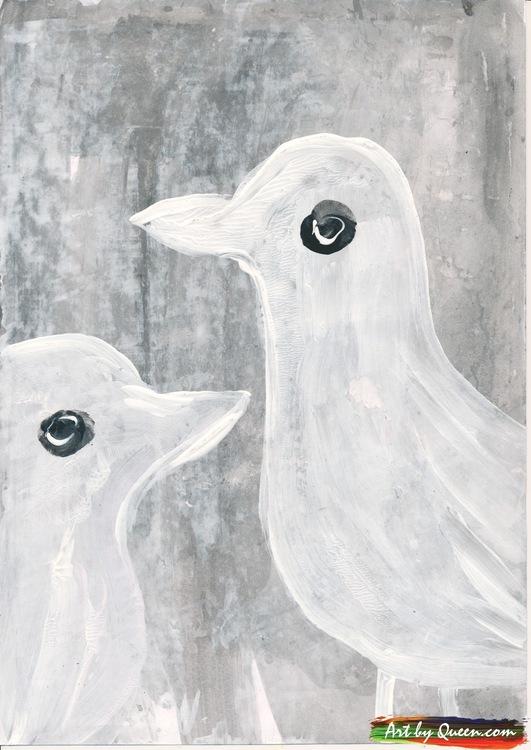 Två söta vita måsar