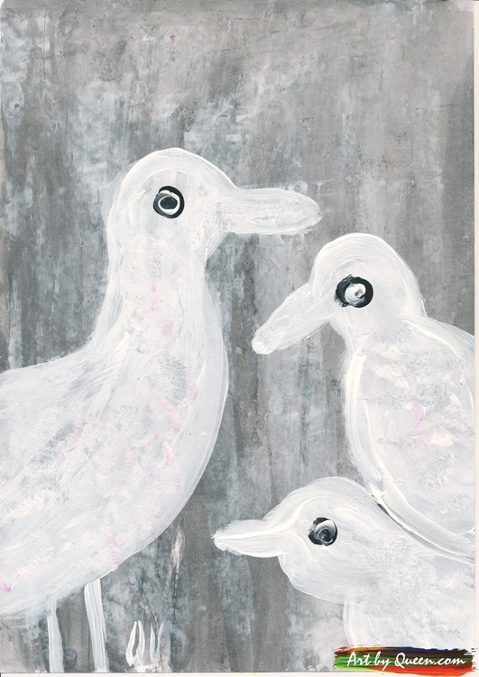 Tre söta vita måsar
