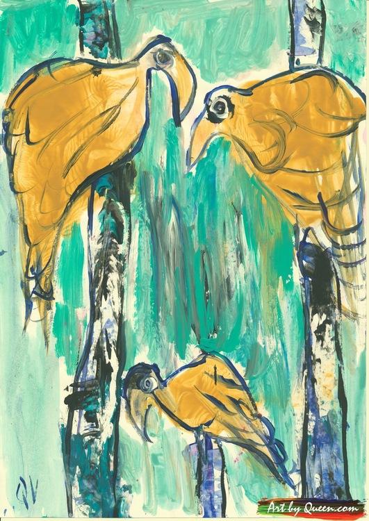 Tre papegojor i trädet