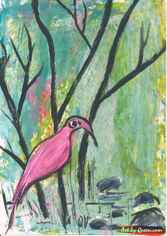 Flamingo vid sjön