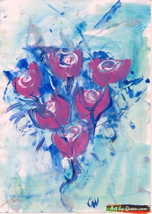 Hjärta med sex rosor