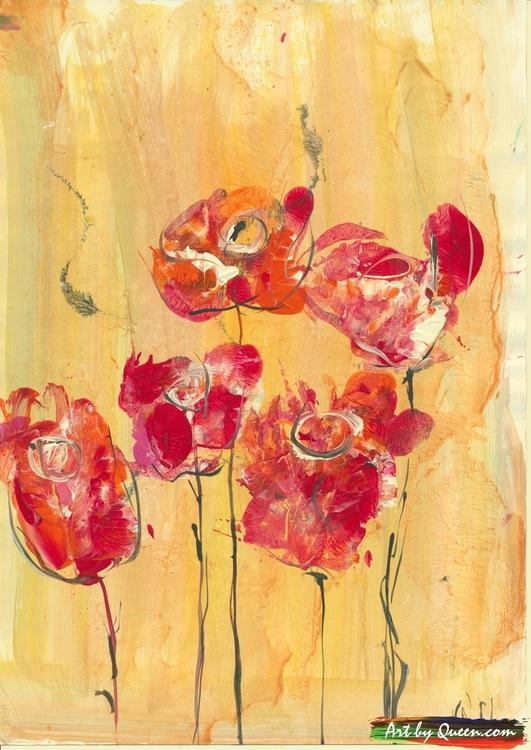 Fem rosor blommar