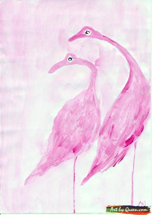 Två stora flamingor