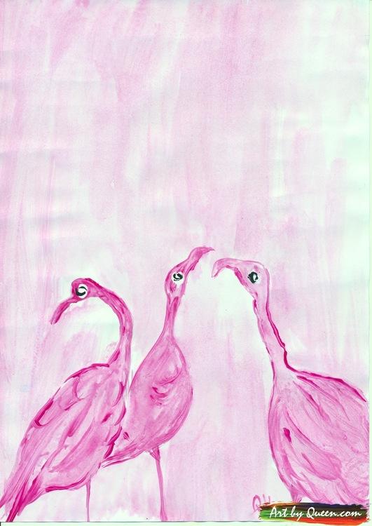 Tre glada flamingor