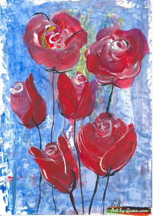 Sex rosor i sin sommarblom