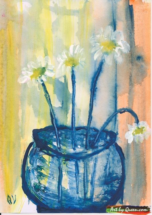 Prästkragar blommar i vasen