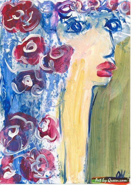 Kvinnan med blommor i håret