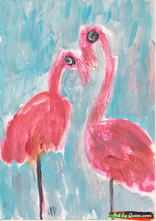 Två stolta flamingor