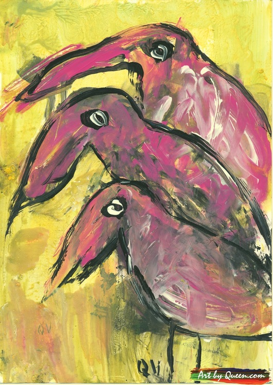 Tre vackra flamingor