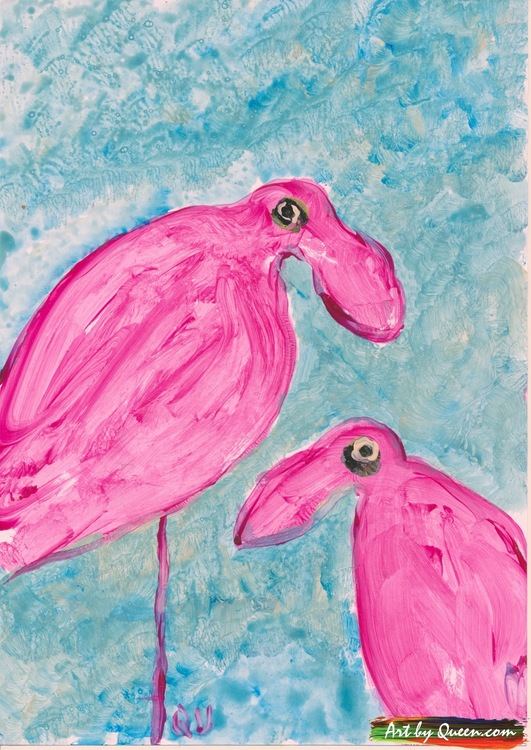 Två goa flamingor