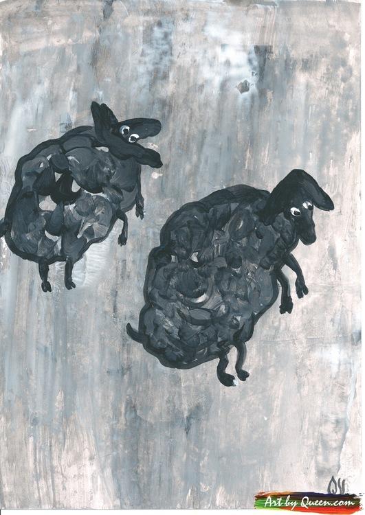 Två hoppande svarta får