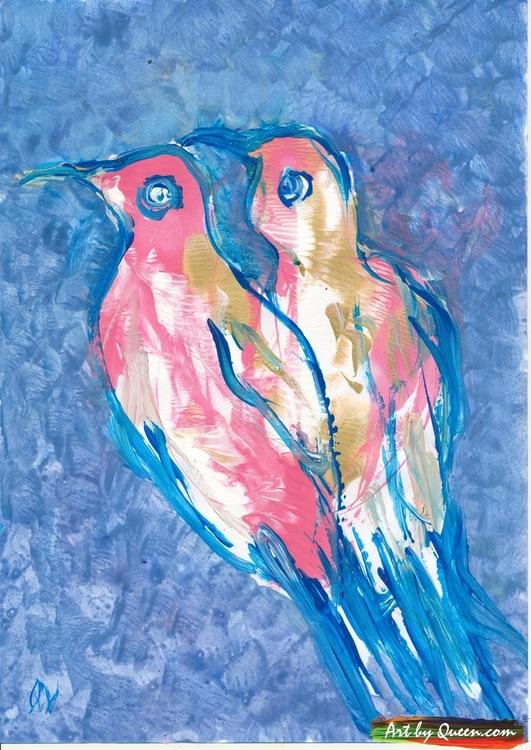 Två gulliga fågelungar