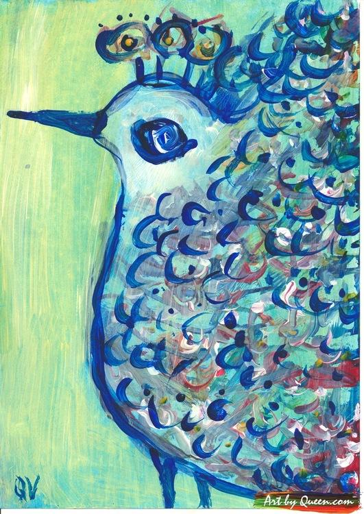 Påfågel i blå
