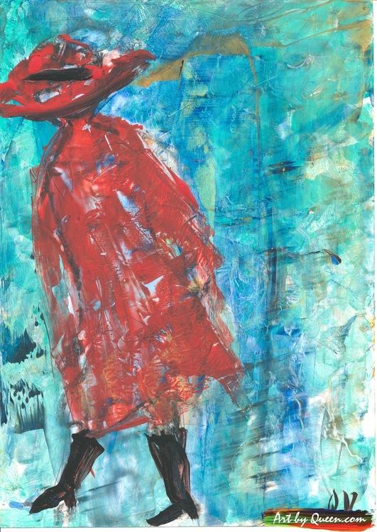 Kvinnan i röd kappa