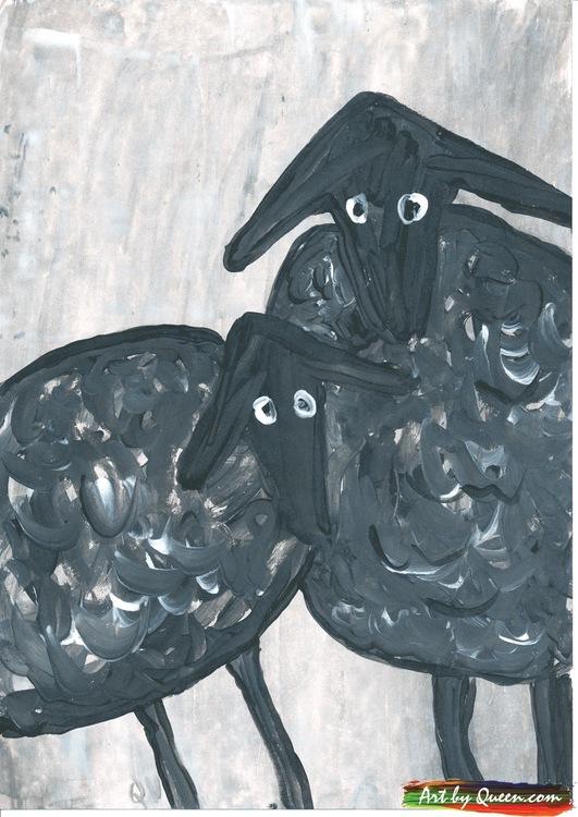 Två stora svarta får